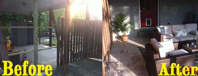 Another outdoor patio project, complete with a new fence, doggie-door, large tile floor, and new gate.